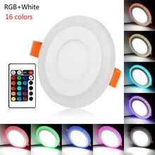 Светодиодный двухцветный панельный светильник 6 Вт 9 Вт 18 Вт 24 Вт круглый светодиодный светильник RGBW с пультом дистанционного управления для спальни гостиной декоративный светильник ing