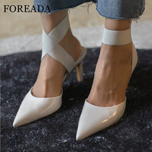 FOREADA Two Piece Pumps Woman High Heels Shallow Stiletto Heel Female Shoes Dress Pointed Toe Ladies Footwear Beige Big Size 40 plus size 34 46 fashion high heels shoes women pumps square heel pointed toe dress pumps shallow party stilettos ladies footwear