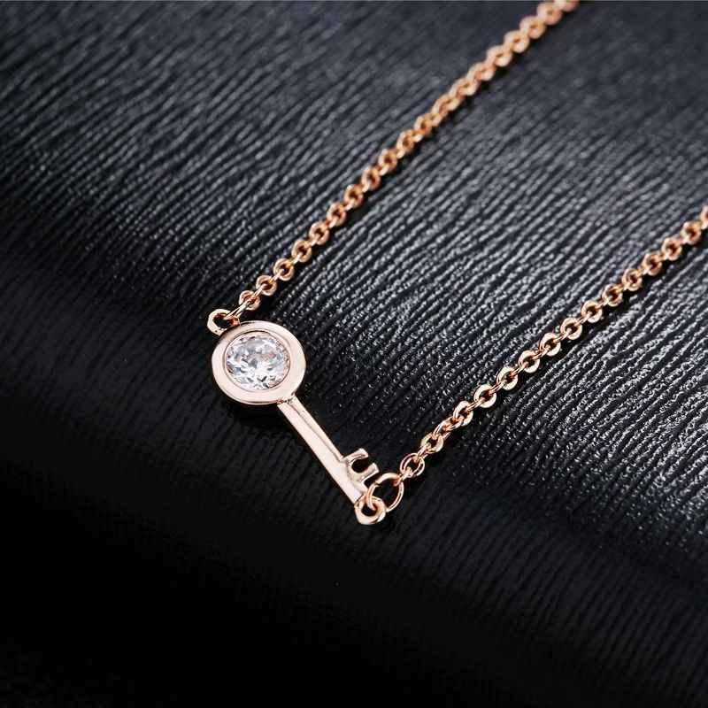 MIGGA conception Simple Zircon cristal clé Bracelet chaîne bijoux Rose or couleur Bracelet pour les femmes