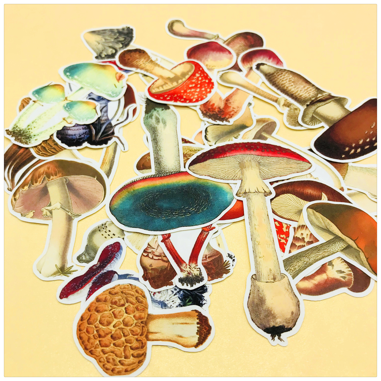 26pcs/bag Hand-painted Stickers Colorful Plant Mushroom Series DIY Scrapbooking Album Journal Happy Planner Decoration Stickers