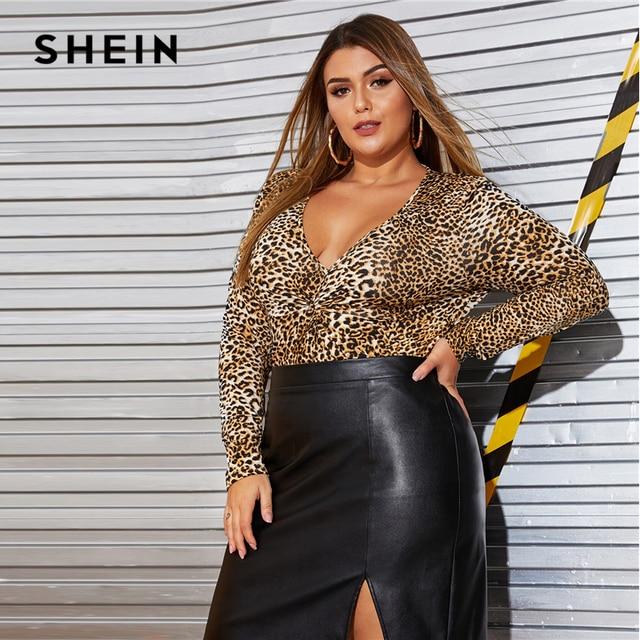 SHEIN Plus Size Black Split Side Skinny PU Skirt Women Autumn Solid Big Size Motor Storm Glamorous Mini Straight Skirts 4