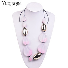 New Long Rope Chains Big Fashion Necklace for Women Geometric Acrylic Resin Pendants Vintage Designer Choker Necklaces Jewelry