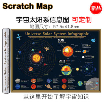 Scratch Map Big Black Gold Scratch Map Universe Solar System Map Popular Science Geography Teaching Appliance Wall Map