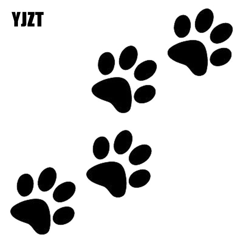 12.8cm*12.5cm Animal Cat Paw Print Funny Vinyl Decal Motorcycle Car Sticker Black/Silver S6-3810