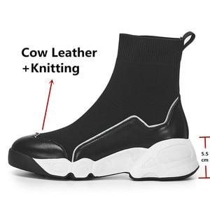 Image 3 - FEDONAS الجوارب أحذية النساء الخريف الشتاء الدافئة حذاء من الجلد عالية الكعب أسافين منصة حذاء كاجوال امرأة جديدة حقيقية أحذية من الجلد
