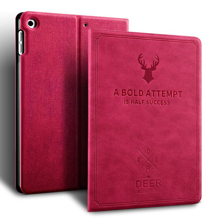 rose Yellow Deer Pattern PU Leather Case For Apple iPad 10 2 2019 Smart Stand Cover For iPad