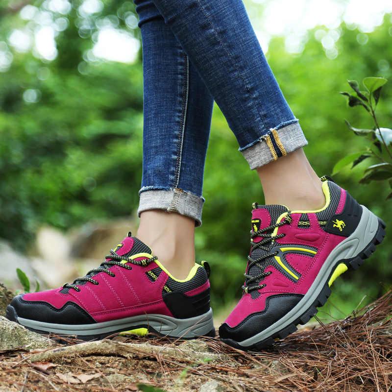 Mens Scarpe Da Trekking In Pelle Impermeabile scarpe Da Tennis di Sport di Montagna Scarpe Da Arrampicata All'aperto Donne Antiscivolo Stivali Da Caccia Scarpe Da Lavoro di Usura