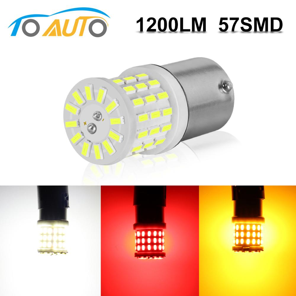 1pcs 1157 1156 3014 Chips BA15S P21W S25 BAY15D P21/5W Led Bulb 57Smd Led Car Strobe Brake Bulbs Tail Stop Signal Light