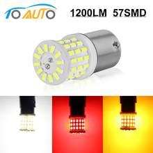 Lâmpada de led 1157 1156 chips, 1 peça, 3014 s ba15s p21w s25 bay15d p21/5w, led, 57smd, estroboscópico para carro lâmpadas de freio luz de sinal de parada