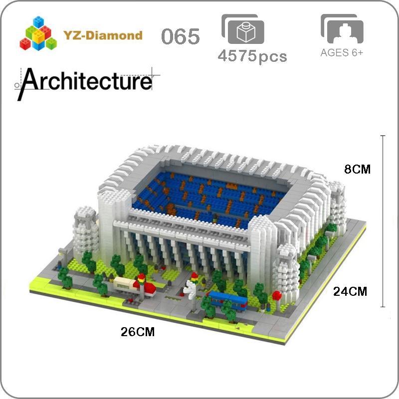 YZ 065 World Famous Real Madrid Club Football Field Stadium 3D Model Mini Diamond Building Nano