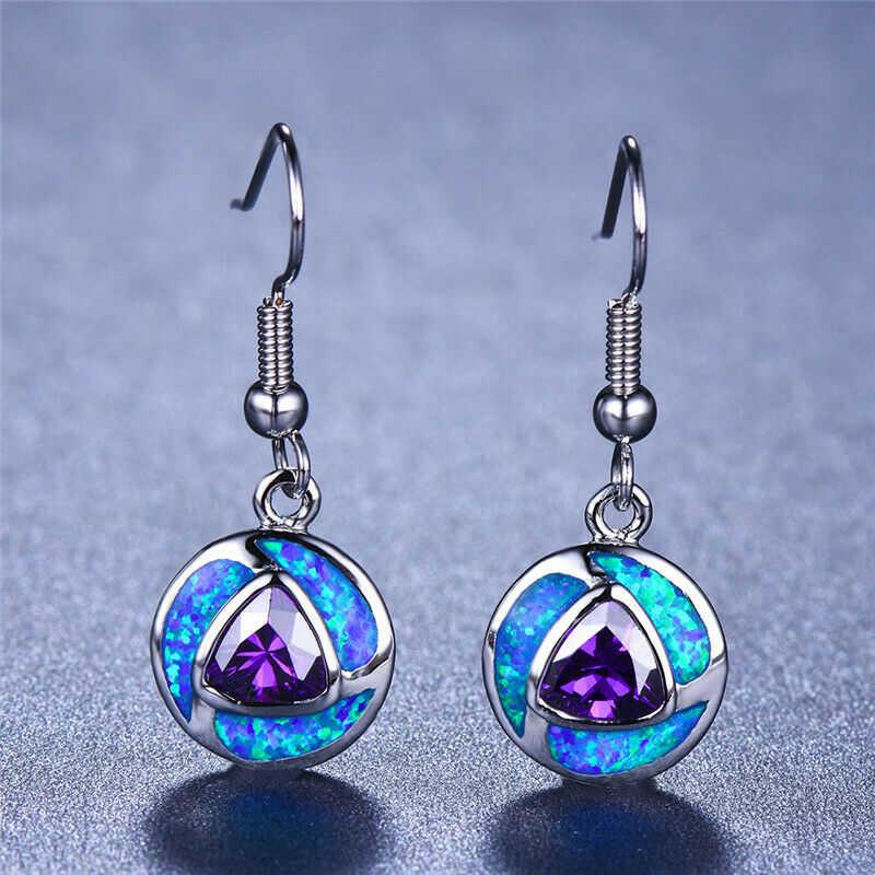 Earrings Fire Round  Wedding Blue Women Fashion  Jewelry Opal