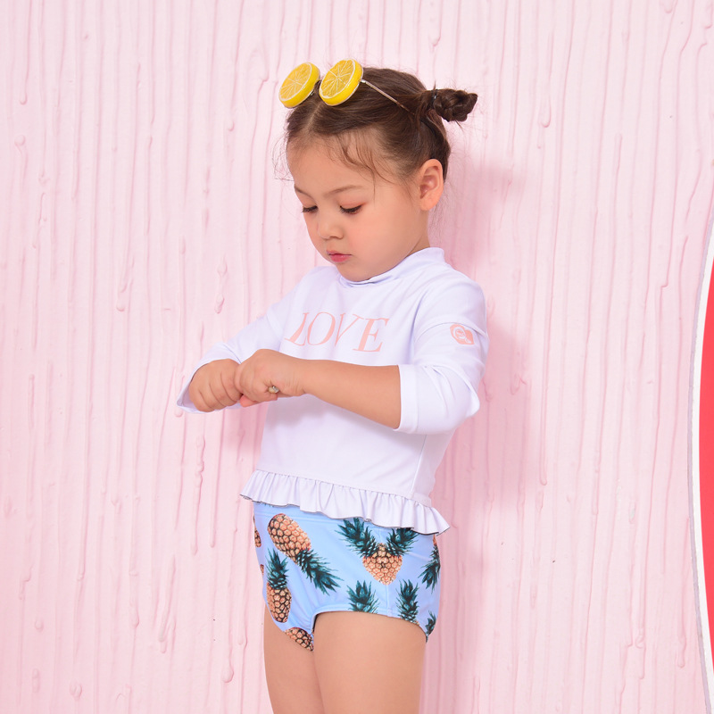 KID'S Swimwear 2019 New Style Sweet Cute Children Briefs Long Sleeve Non-Swimming Cap Girls' Two-piece Swimsuit
