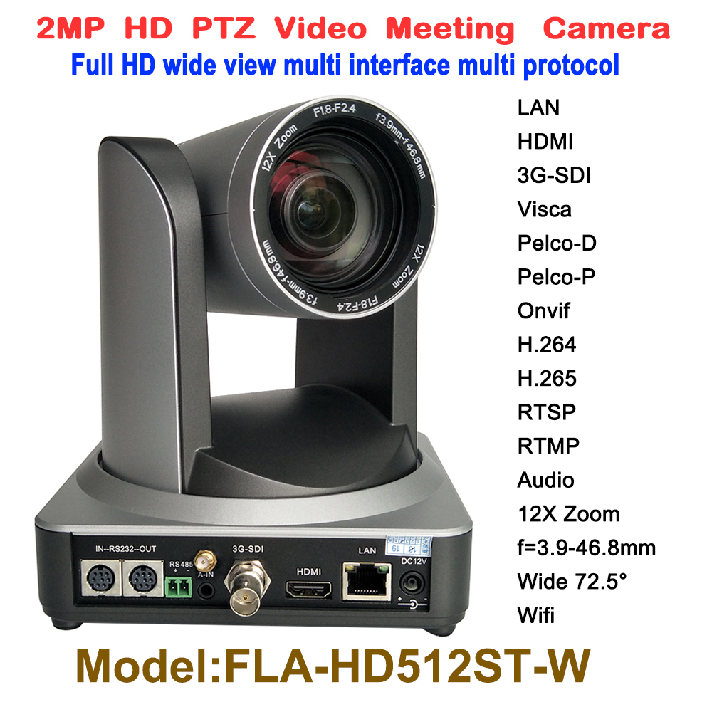 2mp wide angle 72.5 degree 12x Zoom 1080P live streaming hd video conference wifi ip ptz camera with HDMI 3G-SDI Output image
