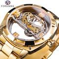 Forsining Transparante Gouden Mechanisch Horloge Heren Steampunk Skelet Automatische Gear Zelf Wind Roestvrij Stalen Band Klok Montre