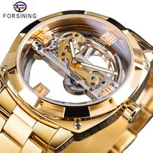 Forsining Transparent Golden Mechanical Watch Mens Steampunk Skeleton Automatic Gear Self Wind Stainless Steel Band Clock Montre стоимость