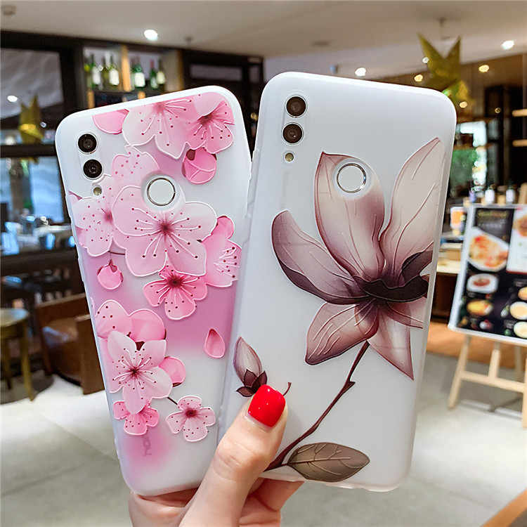 3D Relief Floral Phone Case For Samsung Galaxy A20 A20E A30 A40 A50 A60 A70 A10 M40 S10 Plus S10E Girly Silicon Cover soft Cases