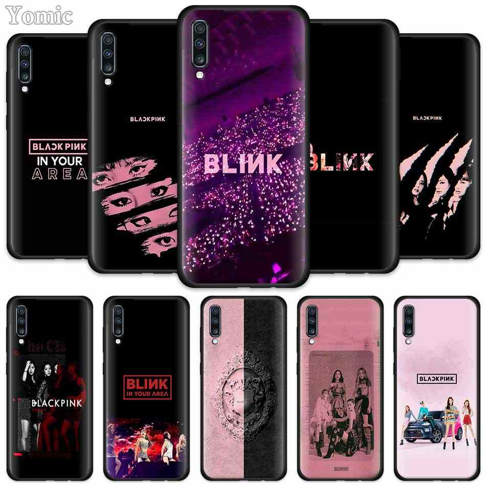HITAM PINK Blackpink Kpop Silicone Casing untuk Samsung Galaxy A50 A70 A20e A40 A30 A10 S A80 A9 A8 A7 a6 Plus 2018 Hitam Dia