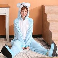 Новые фланелевые слитные пижамы с изображением синей мышки животных