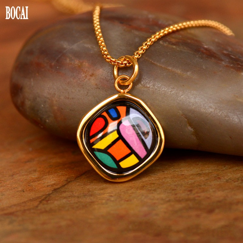 Village Series 2020 new  Cloisonne pendant fashion  Jewelry Enamel Curved square Necklace Pendant Woman Pendant with Chain 18mm