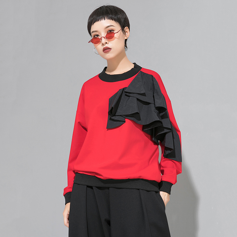 [EAM] Women Loose Fit Mesh Ruffle Spliced Big Size T-shirt New Round Neck Long Sleeve Fashion Tide Spring Autumn 2020 1A937 4