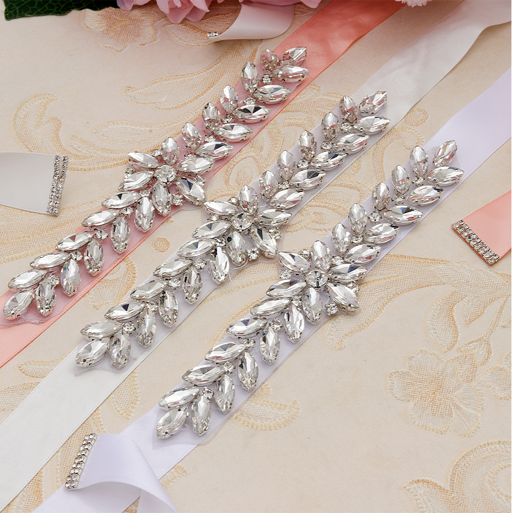 MissRDress Daimond Wedding Belt Crystal Flower Bridal Sash Silver Rhinestones Wedding Sash For Bridal Bridesmaid Dresses JK843