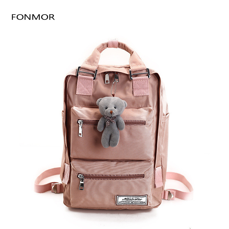 Fashion brand backpack teenage backpacks for girls school bag Backpacks Women Double Zipper Large Capacity Design Square School in Backpacks from Luggage Bags