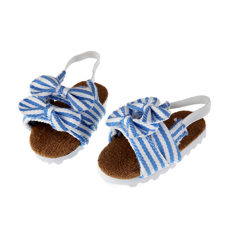 New Fashion Blue Doll Shoes For 18 Inch Generation American Doll Diy Doll Shoes With Bow  Born Baby Dolls Shoes Free Shipping