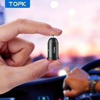 Topk carregador veicular de 3 1a usb  mini adaptador de carregador rápido para carro para iphone samsung xiaomi telemóvel
