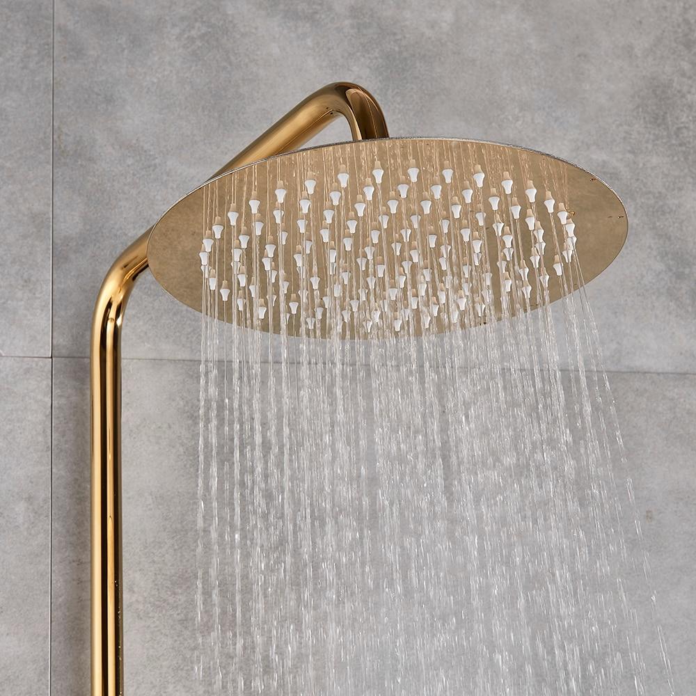 "H0741a4d7aaa0479085314b5247e70a64Z Gold Polish Bathroom Rain Shower Faucet Bath Shower Mixer Tap 8"" Rainfall Head Shower Set System Bathtub Faucet Wall Mounted"