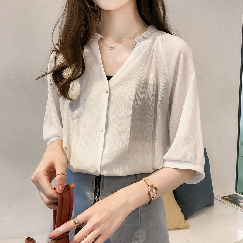 Women Temperament Chiffon Blouse V Neck Loose Office Female Simple Casual Lady Tops