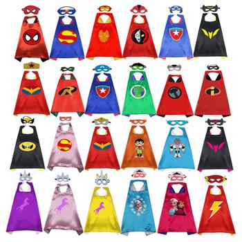 Superbohater peleryna maska superbohater płaszcz dziecko przebranie na karnawał superbohater pająk płaszcz impreza z okazji halloween odzież dziecięca tanie i dobre opinie OLOEY Cloak Film i TELEWIZJA Unisex Topy superhero satin Kostiumy