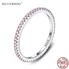 SILVERHOO 925 Sterling Silver kobiety pierścień śliczne różowa cyrkonia ślubne kobiece pierścienie proste geometryczne Fine Jewelry Hot Selling Present