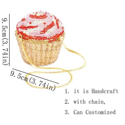 Designer Brand Luxury Crystal Evening Bag Fashion Cupcake Diamond Clutch Soiree Purse Women Wedding Bride Cake Handbags  SC515 Lahore