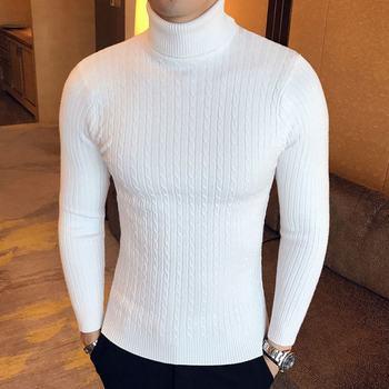 Sweter męski z golfem sweter męski z bawełny sweter zimowy golf sweter męski biały męski sweter Pull Homme tanie i dobre opinie LingDeng CN (pochodzenie) A222-M012 Stałe COTTON Poliester Swetry NONE Na co dzień Pełna REGULAR Mieszkanie dzianiny