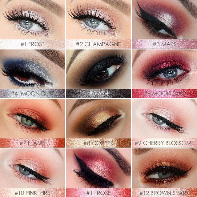FOCALLURE Eyeshadow Stick 12 Colors Eye Shadow Pencil Eyes Makeup Pen Easy to Wear Long Lasting Shimmer Cosmetics Tool 4