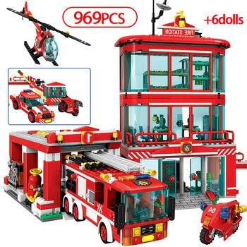 Figuras de Bomberos de 969 Uds., equipo de policía, bloques de construcción, estación de fuego de ciudad, camión, coche, bomberos, juguetes para niños