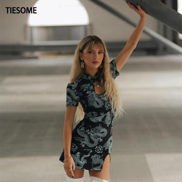 TIESOME 2020 Chinese Traditional Dress for Women Dragon Gothic Hem Split Sexy Mini Dresses Hollow Out Cheongsam Vintage Party 4