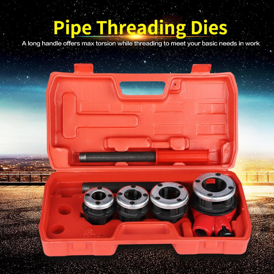 4 Dies Pipe Threading Kit 1/2 inch 3/4 1 1-1/4 inch Manual Plumber Threader Tool Domestic Delivery