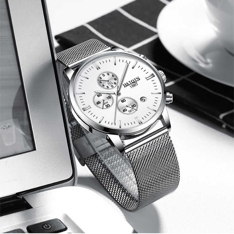 HAIQIN עסקי קוורץ גברים של שעונים למעלה מותג יוקרה קוורץ שעון ספורט שעון יד גברים רשת חגורת שעון 2019 Relogio masculino