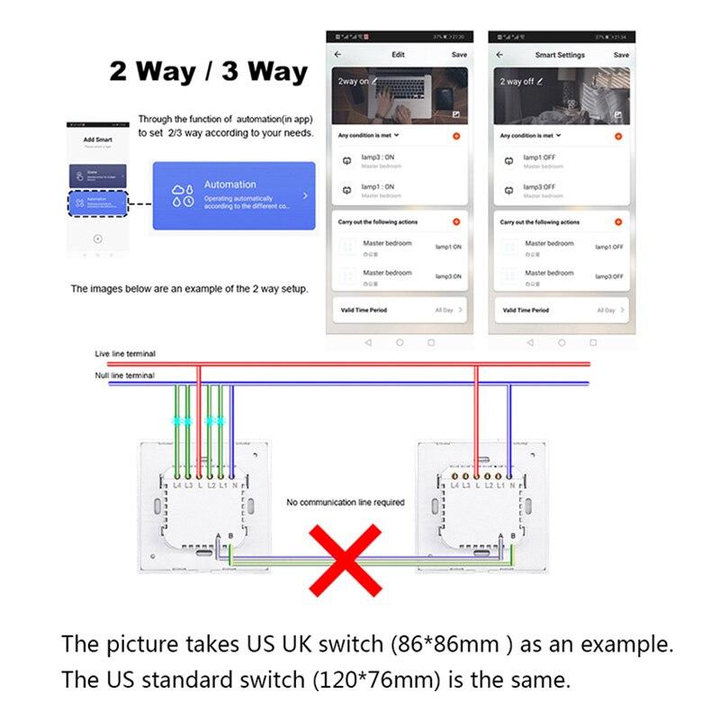 Image 5 - US WIFI Smart Touch Switch 1 2 3 4 Gang Wall Light Wireless Remote Control Switch 220V 1 2 3 Way Tuya Smart Home Alexa GoogleSwitches   -