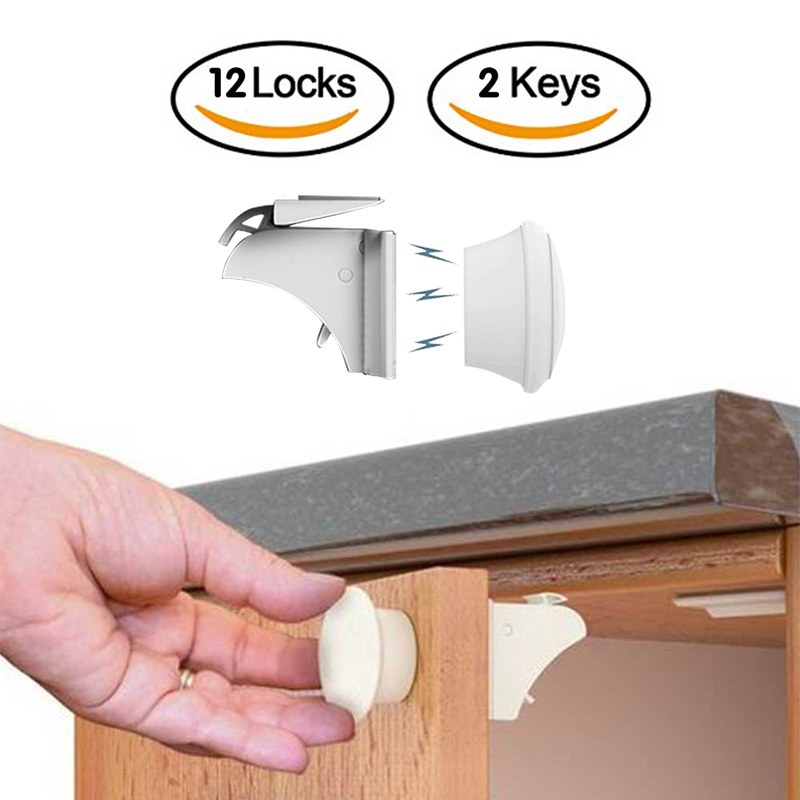 12+3 Pcs Child Protection Magnetic Lock Baby Safety Door Striker Magnet Locks Commonly Used Cabinet & Drawer Household Rooms