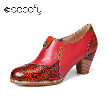 SOCOFY Retro Leather High Heel Beaded Flower Embossed Stitching Zipper Mid Heel Pumps Women Casual Shoes Botas Mujer 2020