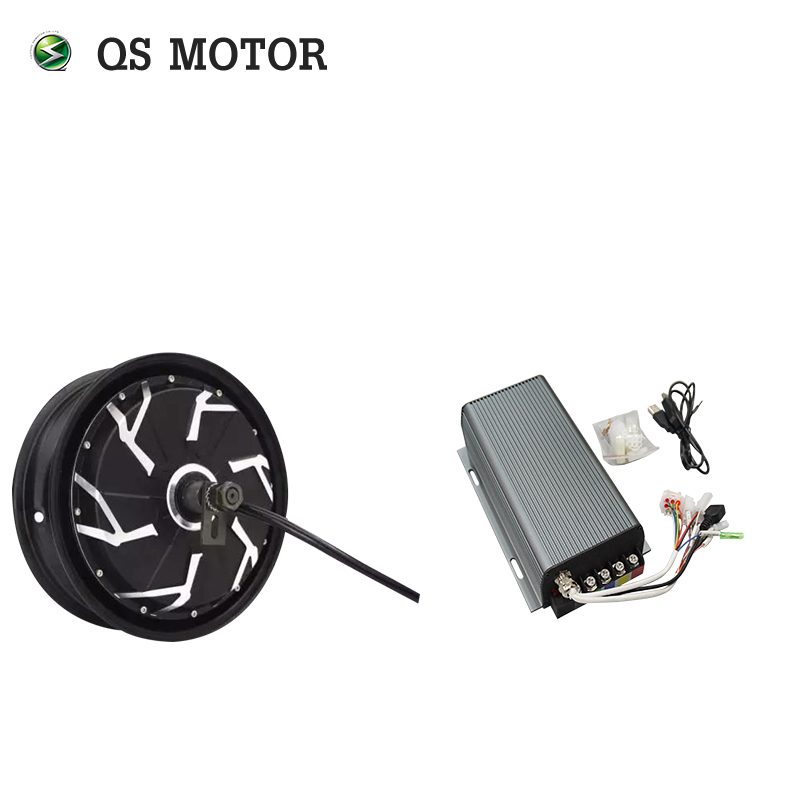 <font><b>QS</b></font> <font><b>Motor</b></font> 12inch <font><b>5000W</b></font> 260 45H V4 BLDC electric scooter motorcycle wheel hub <font><b>motor</b></font> with sabvoton SVMC72200 Sin wave Controller image