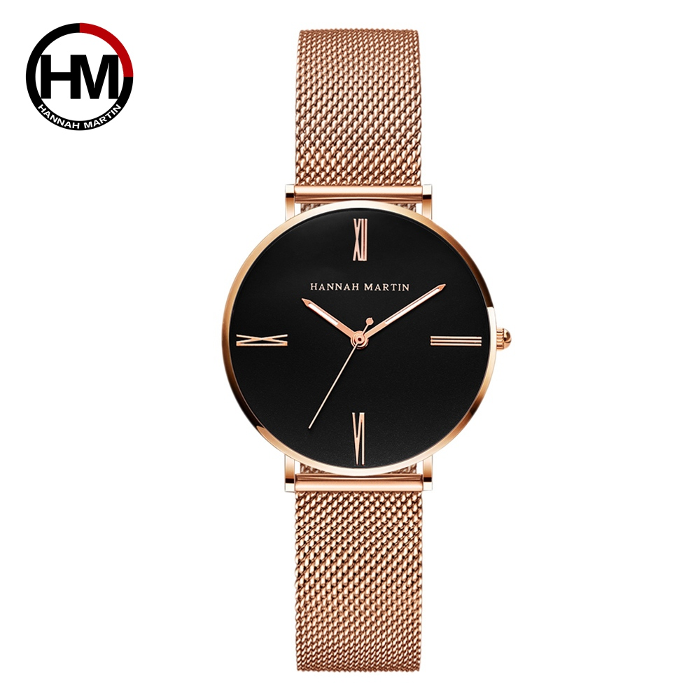 New Hot Japan Quartz Movement Simple Design High Quality Women Stainless Steel Mesh  Waterproof Ladies Watch Dropshipping