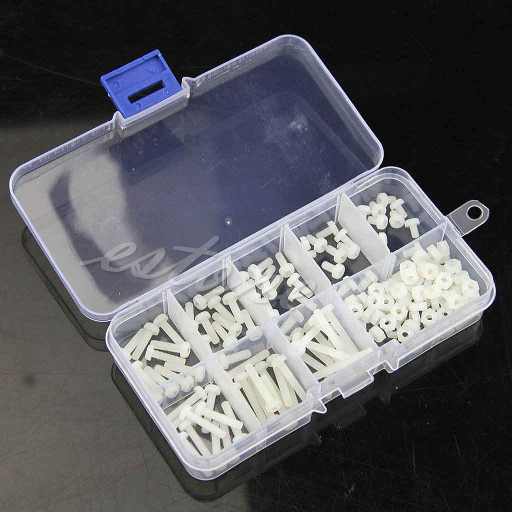 160Pcs Metric M3 8 Sizes Assortment Stand-off Nylon Screws Bolt & Nuts Kit White