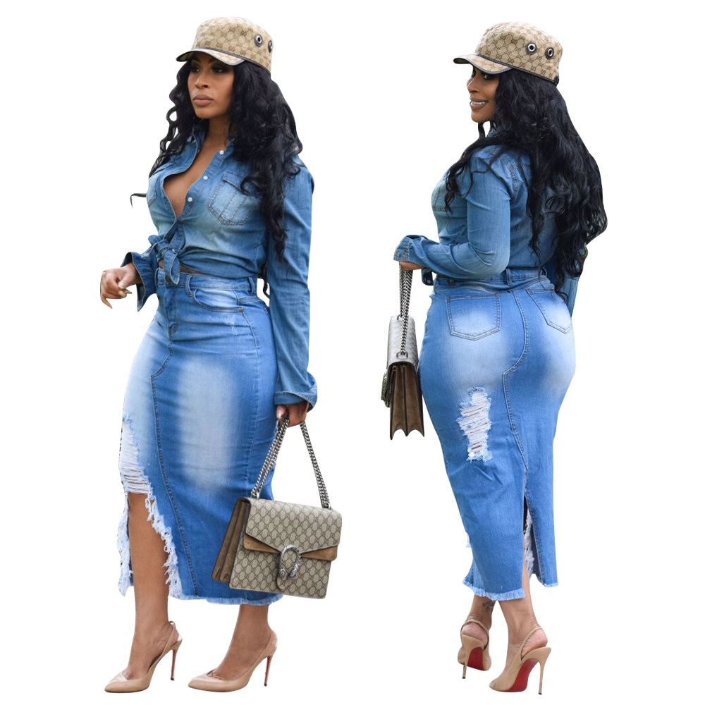 2018 Dashiki African Clothes  Office Lady OL Work Skirts Fashion High Waist Sexy Autumn Boho Denim Skinny Skirts Women Bandage B