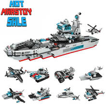 8IN1 Combat Blocks Series Pilot Boat Changeable Model Toys Building Fit LegoINGlys Bricks Gift Toy For Children