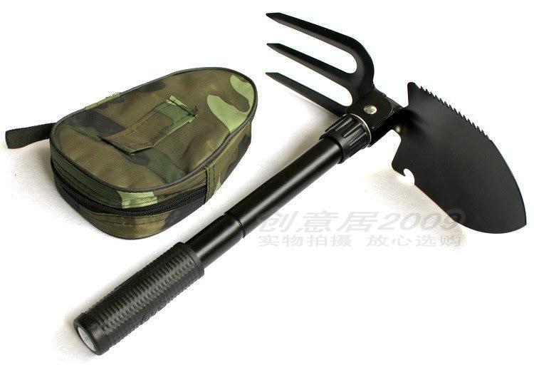 Camping Tool/Small Folding Shovel Multi functional Shovel/Rake/Saw Camping Shovel with Compass Camping Shovel|  - title=