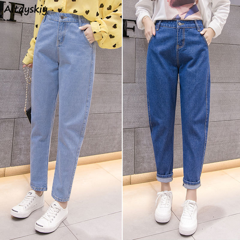Jeans Women Solid Denim Blue All-match Casual Student Straight Pockets Plus Size Womens Trousers Fashion Harajuku Chic Females