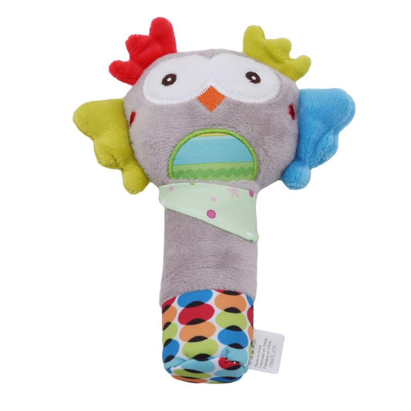 Baby Kid Toy Soft Cute Cartoon Animal Musical Ring Bell BB Plush Rattle Squeaker Early Educational Doll